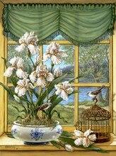 Вышивка озера ирис цветы спальня dmc счетный 14ct без надписей рукоделие diy вышивка крестом комплекты ручной искусство декора стен(China)