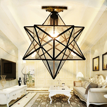 Loft Vintage Ceiling Lamp Light, Shooting Star Tiffany Glass Pendant Lighting for Home Aisle Corridor Porch Shop