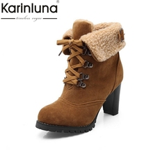 KarinLuna Fashion Small Big Size 32-43 Spike High Heels Ankle Boots Woman Fur Inside Warm British Style Boots Women Shoes