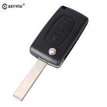 KEYYOU 2 Buttons Remote Flip Key Shell Fob For PEUGEOT 307 308 107 207 407 408 WITH GROOVE CE0523