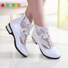 2017 Spring Autumn Tide Korea White Girls Princess Leather Shoes Children Flower Dress Minnie Shoes For Girls Baby Shoes Kids(China)