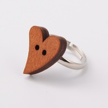 Heart Wooden Buttons Cuff Rings, with Brass Pad Ring Findings, Sienna, 17mm