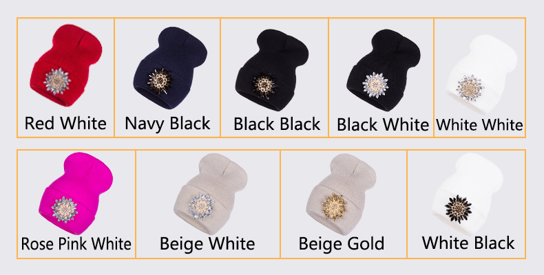 Ralferty 2018 Winter Hats For Women Knitted Luxury Flower Crystal Beanies Hat Female Skullies Caps Black Streetwear Gorras Gorro 3