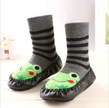 TongYouYuan Cute Winter Baby Boy Girl Kids Anti Slip Newborn Animal Cartoon Shoes Slippers Boots Soft Leather Soled Indoor Socks(China)