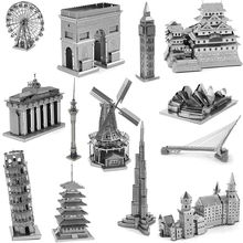 DIY 3D Metal Puzzles for children Adults Model Toys Jigsaw Big Ben Tokyo Tower Sky Wheel Himeji Castle puzzles educational toys