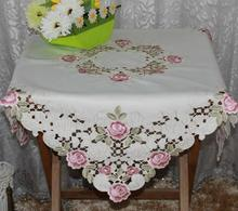 European satin cotton Embroidery table cloth towel cover square cutwork dining lace set tablecloth for wedding home decoration