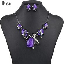 MS1504514 Fashion Brand Jewelry Sets Gunmetal Plated 4Colors Blue Necklace Set Bridal Jewelry High Quality Party Gifts