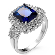 Top Quality Princess Kate Blue em Created Blue stone White old Plated Wedding Finger Crystal Ring Brand Jewelry For Women