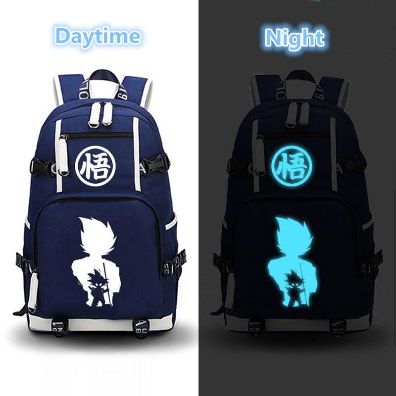 High Quality Dragon Ball Son Goku Luminous Printing Laptop Backpack Mochila Backpacks for Teenage Girls Canvas School bags<br>