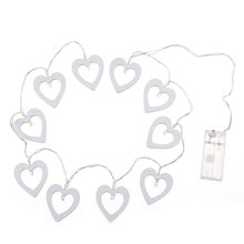 LED Wooden Heart Shape Light String Festival Party Wedding Decoration Warm White