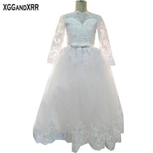Hot Sale White Tulle Ball Gown Flower Girl Dresses 2017 Long Sleeves Scoop Appliques Backless Communion Girl Dresses