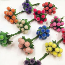 10 PCS (1 cm/a) small berries artificial flowers pomegranate red cherry stamens wedding simulation glass Christmas decorations