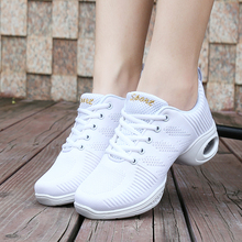 2017 New Arrival Woman Shoes Dancing Sneakers Air Cushion Mid Heel Womens Shoes White/Black Breathable shoes Cheap Ballroom Shoe