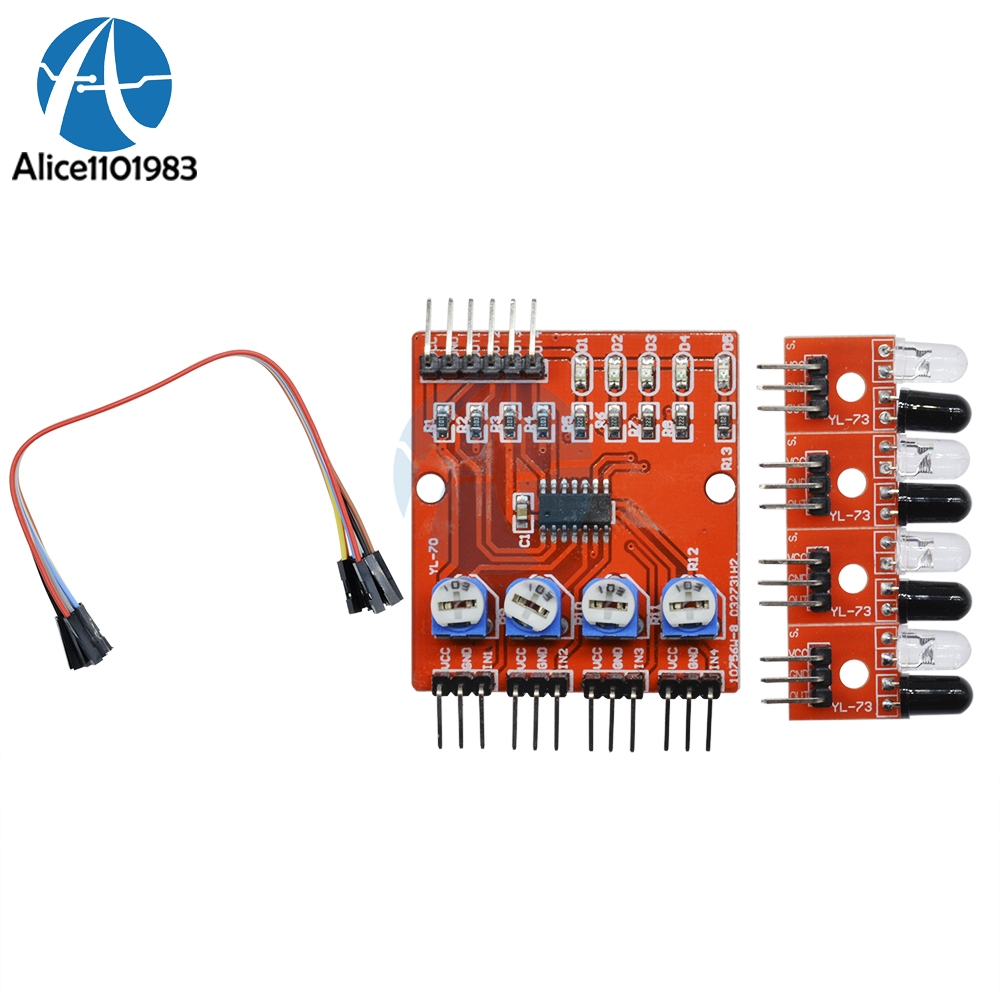 Promo Of Track Boards In Moaltprngo Irs2092 Class D Amplifier Circuit Lm1036 Tone Controlled Power Four Way 4 Channel Infrared Detector Tracking Line Obstacle Avoidance Sensor Module Diy Smart Car Robot Board For Arduino