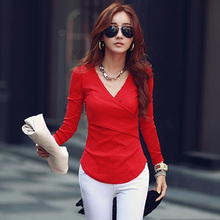 Buy camisetas mujer 2016 fashion basic t shirt women winter knitted cotton slim v neck casual womens tops long sleeve tees S2732 for $12.42 in AliExpress store