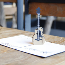 Music Guitar 3D Pop Up Laser Cut Greeting Cards Happy Birthday Postcards Thank You Invitation Cards Gift