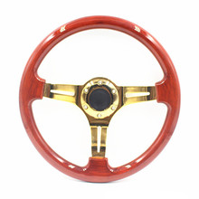 Deep Dish ABS Wooden Steering Wheel 14Inch 35cm Gold Spokes Classic Wood Steering wheel Cover For Honda accord 2003-2007(China)