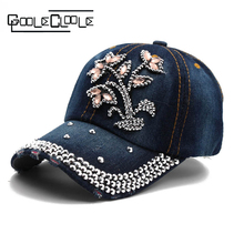 2017 New hats for women Caps Flower Pattern Rhinestone Pierced jewel Lily Baseball Cap crystal Female Breathable hat for lady