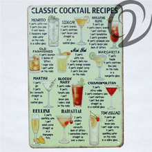 Classic Cocktail Recipes Shabby Chic Tin Signs 20*30 cm Retro Bar Pub Home Wall Decoration Vintage Home Decor Metal Plates