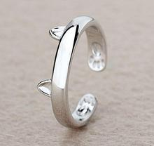 New Fashion Silver Cat Ear Finger Ring Open Design Cute Fashion Jewelry Ring For Women Young Girl Child Gifts Adjustable Rings