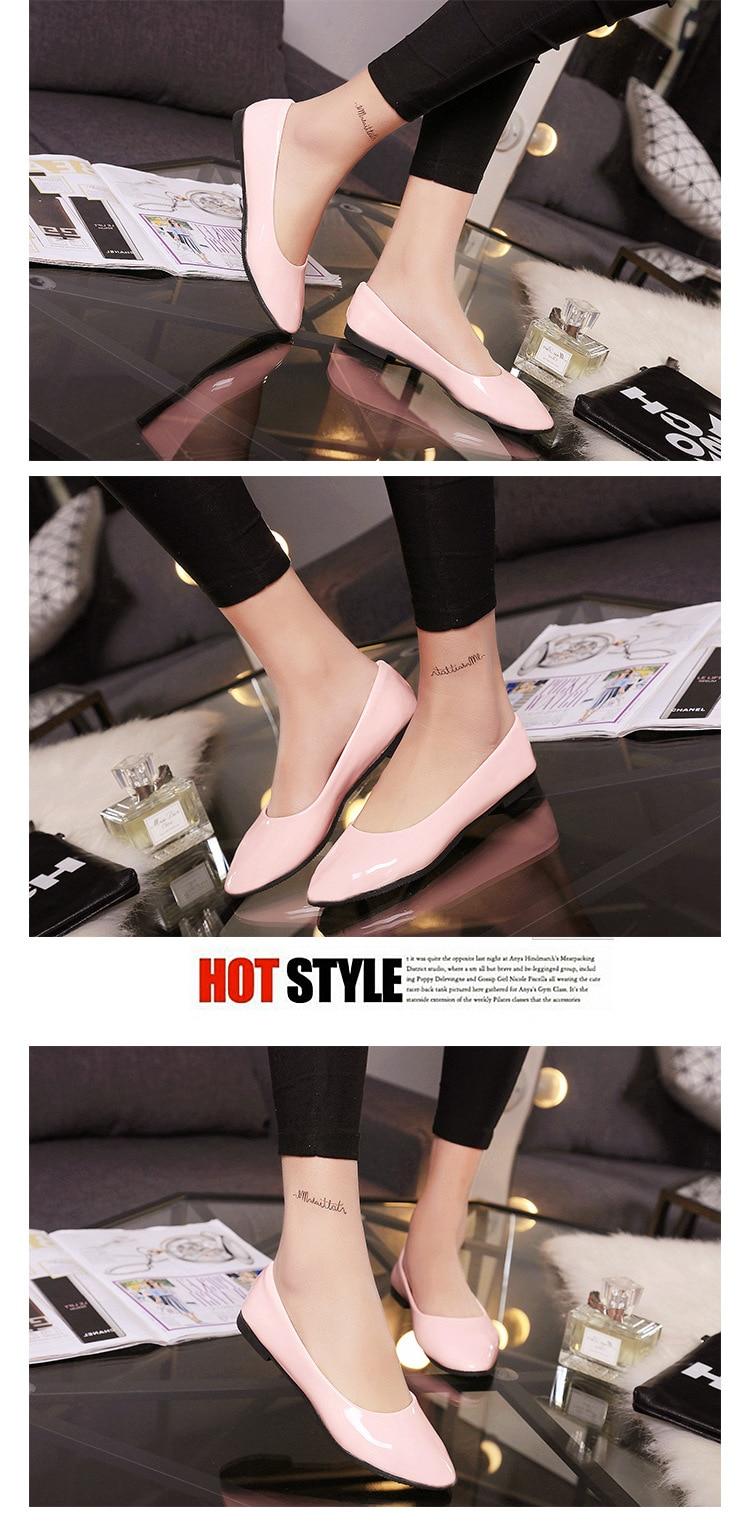 2018 Pu En Cuir Verni Chaussures Femme Chaussures Simples 7