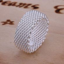 925 jewelry silver plated Ring Fine Fashion Net Ring Women&Men Gift Silver Jewelry Finger Rings SMTR040(China)