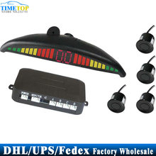 DHL/Fedex/UPS 10pcs/lot Car LED Parking Sensor Digital Backup Reverse Radar PZ305 4 sensors parktronic(China)