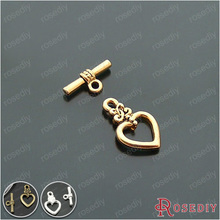 (18171)20 Sets, heart:17*13MM Zinc Alloy Bracelet Clasps Heart Toggle Clasps Diy Jewelry Findings Accessories Wholesale