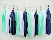 Mixed Royal Blue Mint Green White Party Garland DIY Tissue Paper Tassel (15 Tassels Per Package) Bridal Shower Party Decoration(China)
