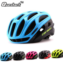 Queshark Men Ultralight Cycling Helmet Road Safety Riding Mountain In-mold Bike Helmet Bicycle Helmet With LED Warning Light