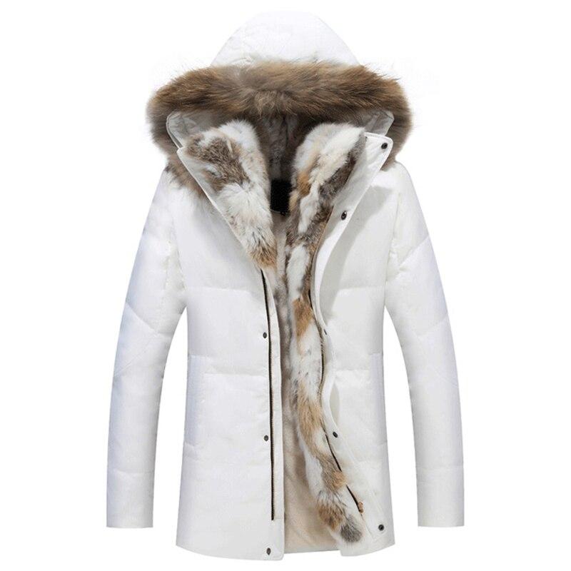 2017 Thick Down Men Winter Jackets Mens Duck Down Coat Cashmere Wool Parka Mans Jacket Coats Rabbit Fur Hooded Parkas Outerwear