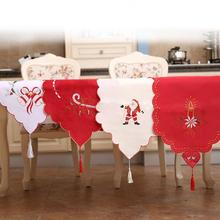 Christmas Table Runner Embroidered Floral Lace Dust Proof Covers for Table Xmas Ornament Home New Year Christmas Decorations(China)