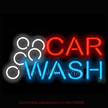 Car Wash Shop Automotive Neon Sign Bright Neon Bulbs Real Glass Tubes Handcrafted Recreation Room Free Custom LOGO Design 17x14