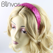 Sequin Hair Headband Shinning Hair Ornament Accessories for Women Paillette Headwear Rose Red Blue Black Solid Color
