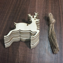 10PCs DIY Christmas Deer Head Reindeer Xmas Tree Hanging Wooden Pendants Ornaments Party Decorations for Home Navidad Kids Gifts(China)