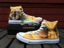 Converse All Star Men Women Shoes Brown Bear Original Design Hand Painted Shoes Man Woman Canvas Sneakers Christmas Gifts(China)