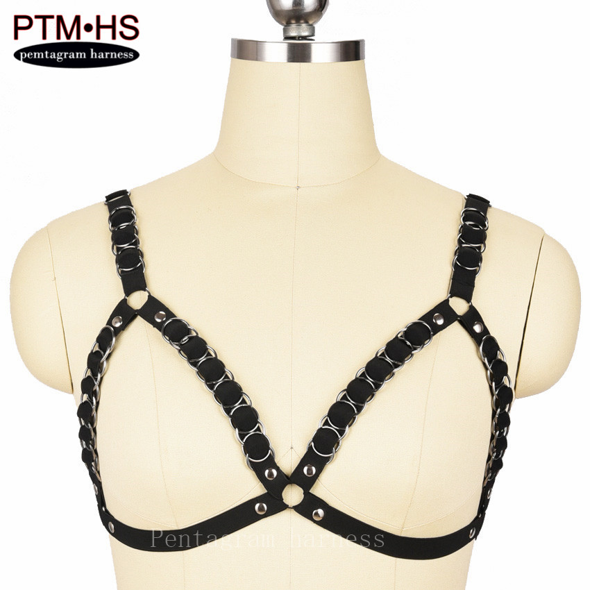 Rivet Punk Gothic Strappy Tops Bondage Body Harness Cage Bra Black Elastic Adjust Back Size Lingerie Fetish Erotic Sexy Harness