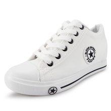 Mulheres verão Sapatilhas Cunhas Brancos Sapatos de Lona Estrela Lace Up Calçados  Casuais Feminino Aumento da e860c73bc1296