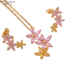 Gold Tone Fashion Jewelry sets Necklace Earrings Pink zirconia Zircon Austrian SWA Element Health Nickel & Lead free JS251(China)
