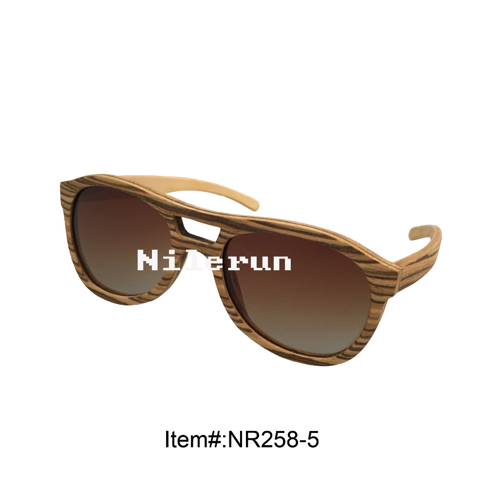 pilot style thin light zebra veneer wood sunglasses for fishing, driving or traveling<br><br>Aliexpress