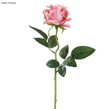 1 branch Silk Artificial Flower Rose Pink For Garden Public places Celebrations Wedding Party Home Festival Decor 50cm