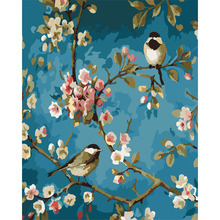 DIY Hand Painted fower bird Paintings Wall Painting Picture on Canvas Abstract Decor Feather Modern Oil Painting Hang Picture