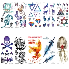RU2PCS RC01-50 Multi Color Tattoo Sticker Color Runs Elk Pattern Temporary Tattoo Stickers Flash Tattoo Foil(China)