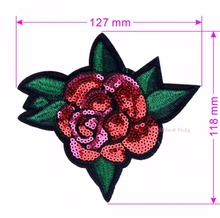 Embroidered Rose Patches Iron On Sequins Flower Patch DIY Hotfix Motifs Sewing On Appliques New