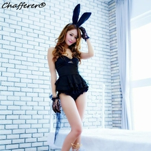 Chafferer Long Dovetail Women Sexy Lingerie Dress Racy Lovely Lace Bunny Rabbit Girl Halloween Role-Playing Game Uniform Costume