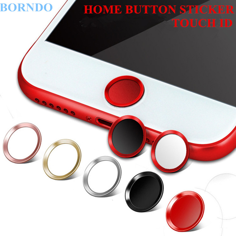 5x Ultra Slim Fingerprint Support Touch ID Metal Home Button Sticker For iPhone 7 7PLUS 6 6S 6PLUS 5 5S 5C SE Red & Black & Gold(China (Mainland))