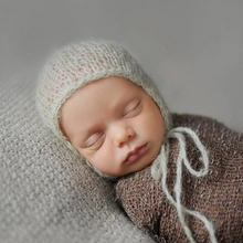 Newborn Mohair hat Baby Photography Props Hand Knitting Mohair Infant Cap(China)