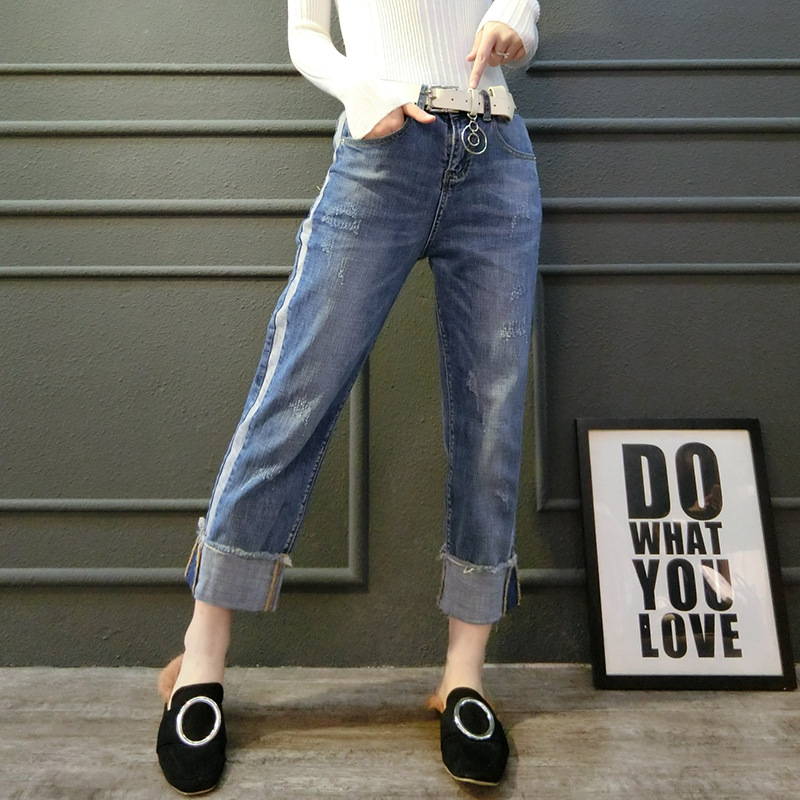 New 2017 Spring  Casual Women Jeans High Waist Loose Straight Vintage Washed Blue Retro Jeans Denim Pants Îäåæäà è àêñåññóàðû<br><br>