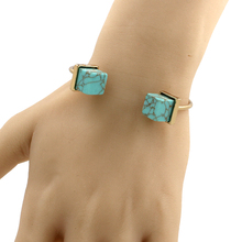 Women Bracelet Natural White Green Lab Howlite Cube Shape Cuff Bangles Bracelets Femme Summer Charm Jewelry Summer Sleeve 2101