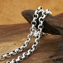 Wholesale silver jewelry manufacturers S925 8m bold men Style Silver Long Necklace(China)